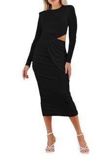 Misha Collection MISHA Vina Cutout Long Sleeve Midi Cocktail Dress