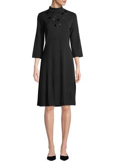Misook 3/4-Sleeve Flower Applique A-Line Dress