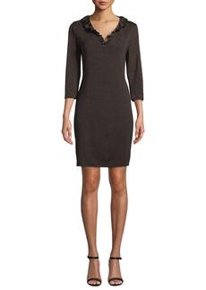 Misook 3/4-Sleeve Ruffle-Trim Knit Dress