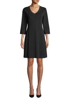 Misook 3/4-Sleeve V-Neck A-line Dress