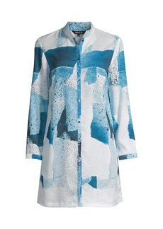 Misook Abstract Crepe de Chine Blouse