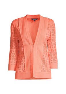 Misook Animal Pattern Burnout Knit Jacket
