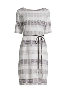 Misook Belted Multi-Stripe Knit Sheath Dress