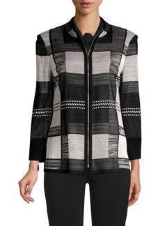 Misook Block Print Zip-Up Jacket