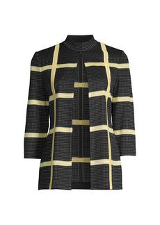 Misook Bold Windowpane Knit Jacket
