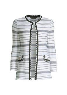Misook Braid-Trim Tweed Knit Jacket