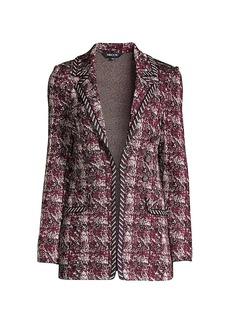 Misook Button-Trim Multi-Plaid Knit Jacket