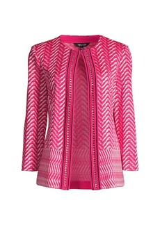 Misook Chevron Knit Chain Trim Jacket