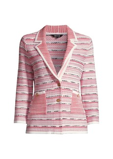 Misook Contrast Pattern Knit Blazer