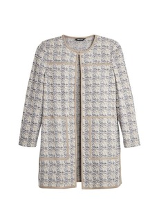 Misook Contrast Piped Jacquard Jacket