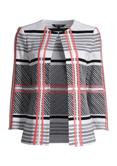Misook Contrast Plaid Knit Jacket
