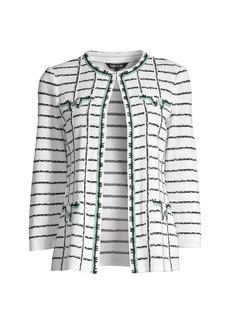 Misook Crochet-Trim Windowpane Knit Jacket