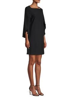 Misook Drape Sleeve Crepe Dress