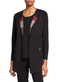 Misook Easy Jacket with Striped Scarf Lapel