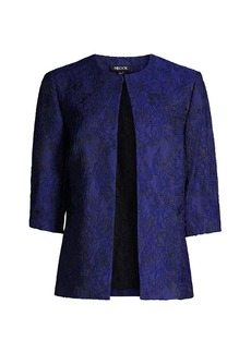 Misook Embroidered Floral Woven Jacket