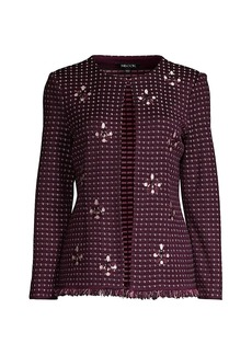 Misook Embroidered Stone Detail Tweed Jacket
