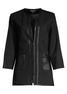 Misook Faux Leather Trim Ponte Jacket