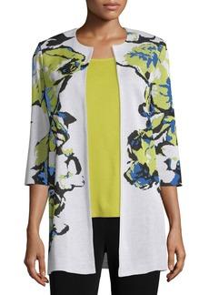 Misook Floral-Knit Long Jacket  Multi Colors