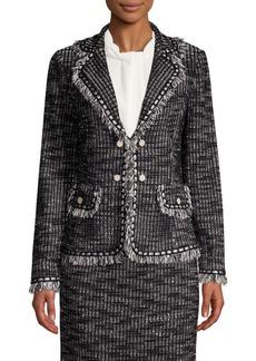 Misook Fringed Tweed Jacket