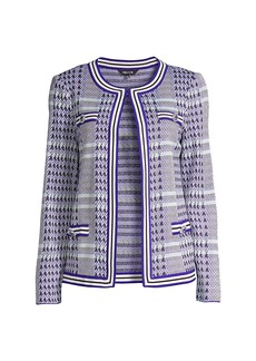 Misook Glen Check Tailored Knit Jacket
