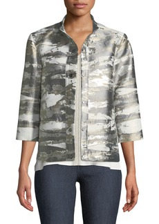 Misook Graphic Metallic Short Jacket