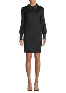Misook Grommet Collar Knit Mini Dress
