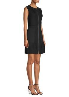 Misook Knit & Ponte Zip-Front Mini Dress