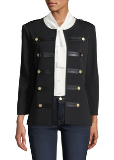 Misook Knit Military Jacket with Faux-Leather Epaulets