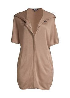 Misook Knit Short Sleeve Hoodie