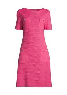 Misook Lace-Pocket Short-Sleeve Sheath Dress