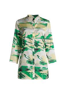 Misook Landscape Pattern Crepe De Chine Shirt Jacket