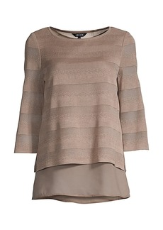Misook Layered Striped Knit Tunic Top