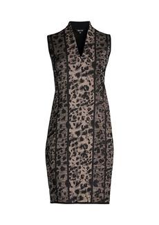 Misook Leopard Knit Sheath Dress