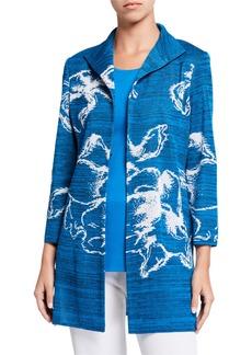 Misook Long Floral Space Dye Jacket
