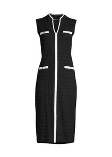 Misook Mandarin-Collar Contrast Trim Midi Knit Dress