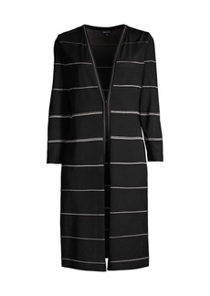 Misook Metallic Striped Knit Duster
