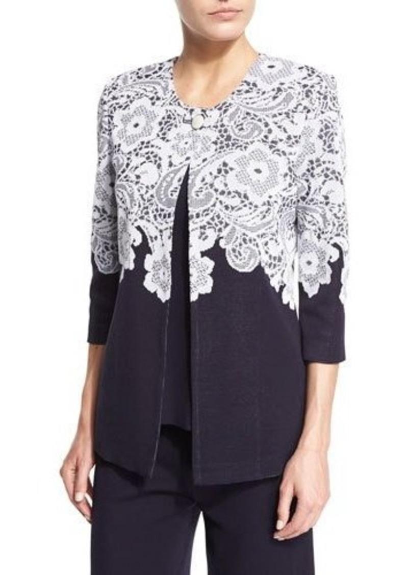 Misook 3/4-Sleeve Lace-Print Jacket