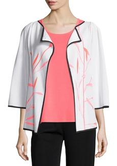 Misook Bamboo-Print 3/4-Sleeve Jacket