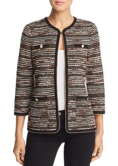 Misook Chain Trim Metallic Tweed Jacket