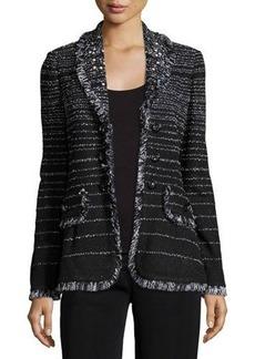 Misook Fancy Fringe Striped Jacket