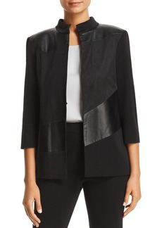 Misook Faux Leather-Panel Jacket