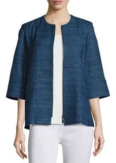 Misook Half-Sleeve Silk Textured Zip-Front Jacket