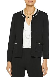 Misook Knit Cardigan with Faux-Pearl Trim
