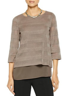 Misook Layered-Look Paneled Knit Top
