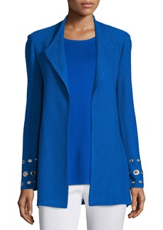 Misook Long Knit Jacket with Grommet Detail
