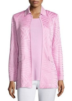Misook Long Textured Open-Front Jacket