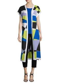 Misook Short-Sleeve Graphic Duster