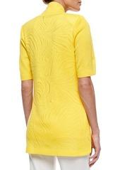 Misook Short-Sleeve Graphic Lines Cardigan