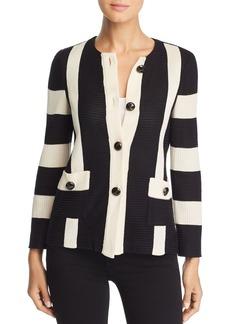 Misook Stripe Ribbed Knit Jacket