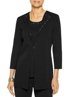 Misook Studded Wing Collar Knit Jacket